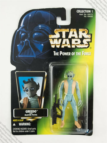 1996 Kenner Star Wars POTF2 Greedo action figure MOC - green card
