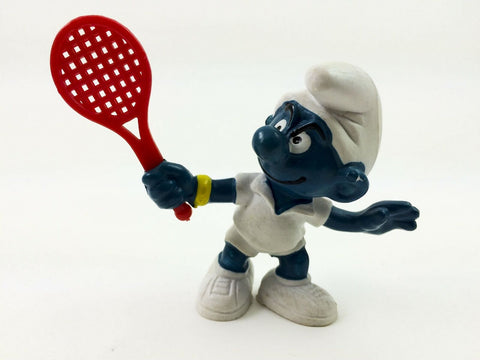 Vintage 1979 Schleich Smurfs #20049 Tennis Smurf PVC figure - C9 condition