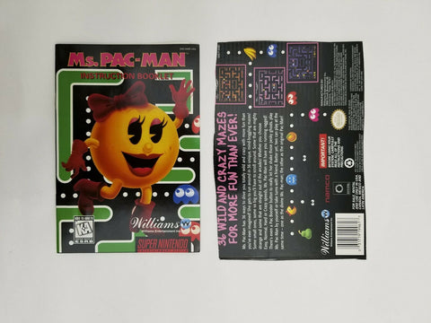 Super Nintendo SNES Ms. Pac-Man instruction manual / booklet