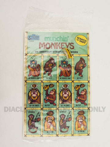 Vintage Sticker Store Muchin' Monkeys Coconut Scented Scratch N Sniff stickers