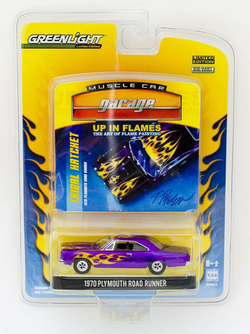 Greenlight Muscle Car Garage Up In Flames 1970 Plymouth Road Runner diecast car