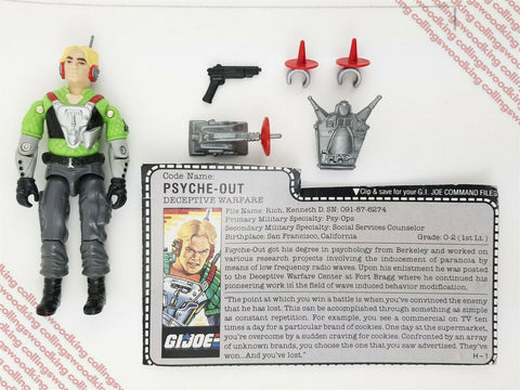 "Vintage 1987 Hasbro G.I. Joe Psyche-Out 3 & 3/4"" action figure - C9 w/ filecard"