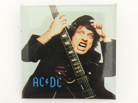 Vintage 1991 AC/DC Angus Young square concert pin back button - hard rock metal