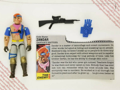 "Vintage 1986 Hasbro G.I. Joe Zandar 3 & 3/4"" action figure - C9 w/ filecard"