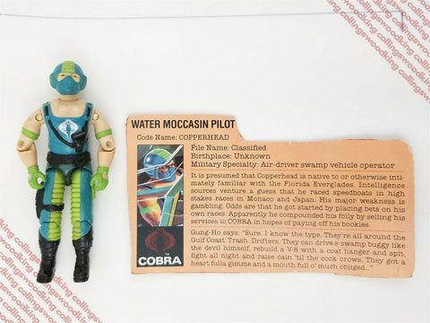 Vintage 1984 Hasbro G.I. Joe Copperhead Water Moccasin action figure - C7.5
