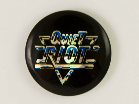 Vintage 1980's Quiet Riot prismatic foil concert pin back button