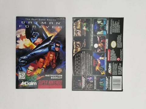 Super Nintendo SNES Batman Forever instruction manual / booklet