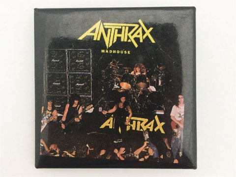 Vintage 1980's Anthrax Madhouse square concert pin back button - thrash metal