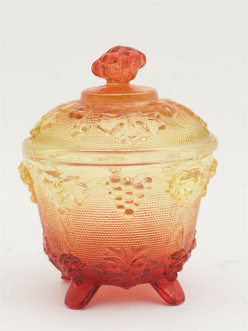 Antique / Vintage Carnival Glass Depression Glass Sugar Bowl yellow w/ red tone