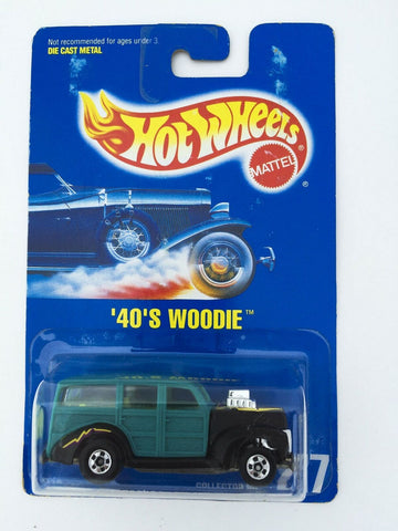 Vintage 1991 Mattel Hot Wheels #217 '40's Woodie New Paint Style MOC