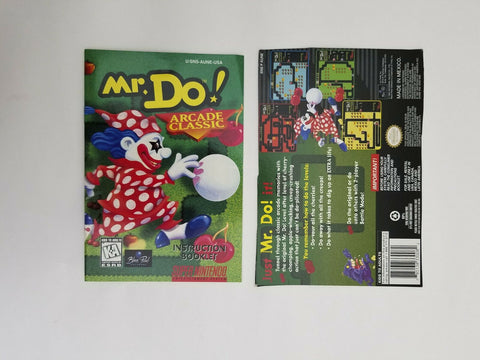 Super Nintendo SNES Mr. Do! instruction manual / booklet