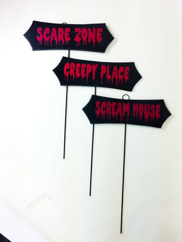Halloween wooden lawn signs w/ metal poles decoration Scare Zone Scream House
