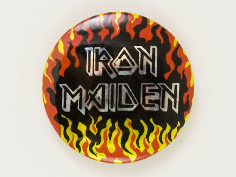 Vintage 1980's Iron Maiden prismatic foil concert pin back button Heavy Metal