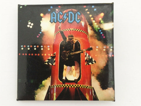 Vintage 1991 AC/DC Angus Young rocket square concert pin back button - hard rock