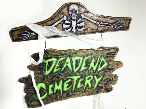 Dead End Cemetery sign Halloween decoration / prop simulated wood foam core