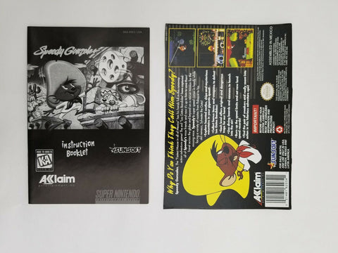 Super Nintendo SNES Speedy Gonzales instruction manual / booklet