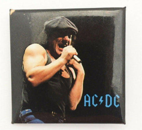 Vintage 1991 AC/DC Brian Johnson square concert pin back button hard rock metal