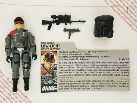"Vintage 1986 Hasbro G.I. Joe Low-Light 3 & 3/4"" action figure - C9 w/ filecard"