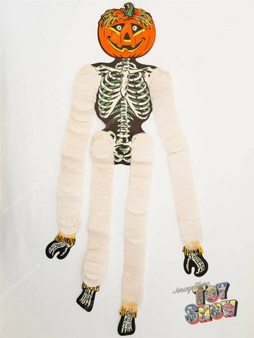Vintage Beistle Co. Halloween 26 inch die cut Jack O Lantern Skeleton decoration