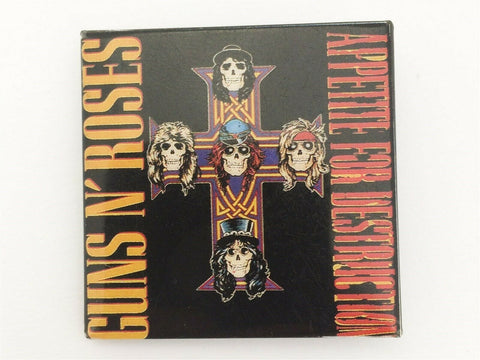 1980's Guns N' Roses Appetite for Destruction square concert pin back button GNR