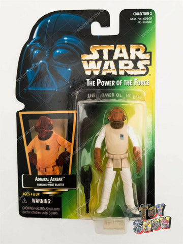 1997 Kenner Star Wars POTF2 Admiral Ackbar action figure MOC green card hologram