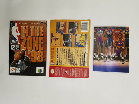 1998 Nintendo 64 N64 NBA in the Zone '98 instruction manual / booklet & poster