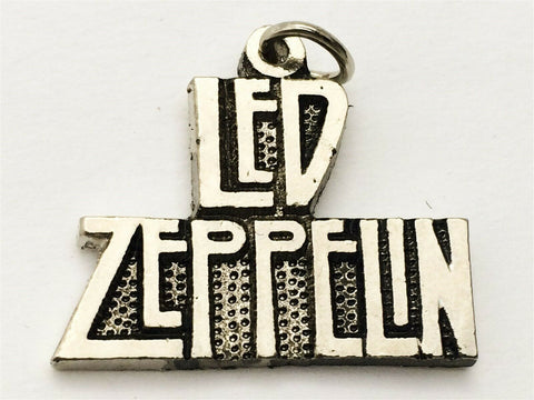 Vintage Led Zeppelin pewter metal pendant chain necklace concert pin button