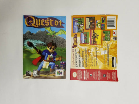 1998 Nintendo 64 N64 Quest 64 instruction manual / booklet