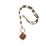 Copper leaf rosary style necklace