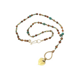 Gold leaf rosary style necklace