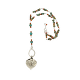 Silver leaf rosary style necklace