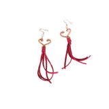 Heart Earrings with long pink leather fringe