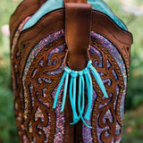 Boot Bling leather fringe boot accessories in turquoise by Buckaroo Bling
