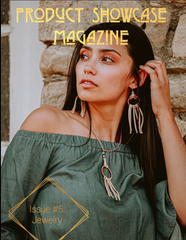 Product Showcase Magazine featured a dark haired model in a green off-shoulder top wearing Buckaroo Bling earrings and necklace with buckskin colored leather fringe