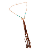 Heart Necklace with turquoise and long brown leather fringe