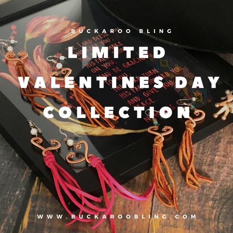Limited Valentines Day collection by buckaroo bling - pictured are 3 pairs of heart shaped earrings with leather fringe