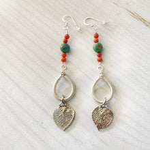 Load image into Gallery viewer, Long sterling silver earrings with natural aspen leaves dipped in silver