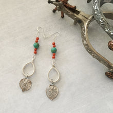 Load image into Gallery viewer, Long earrings with  natural aspen leaves dipped in silver by Buckaroo Bling