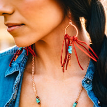 Load image into Gallery viewer, long turquoise and carnelian earrings with leather fringe