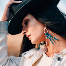 Load image into Gallery viewer, turquoise and carnelian statement earrings with leather fringe