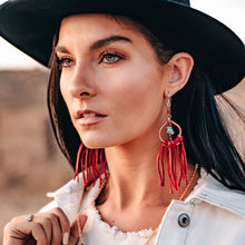 Load image into Gallery viewer, statement dream catcher earrings with red fringe