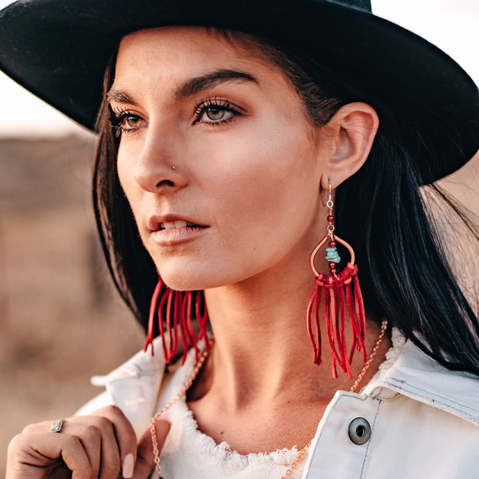 statement dream catcher earrings with red fringe