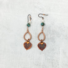 Load image into Gallery viewer, Buckaroo Blin copper aspen leaf earrings with turquoise and pearls