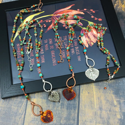 Rosary style adjustable length necklaces with turquoise and real aspen leaves dipped in copper or silver