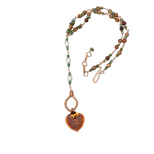 Load image into Gallery viewer, Buckaroo Bling copper aspen leaf necklace with turquoise and pearls