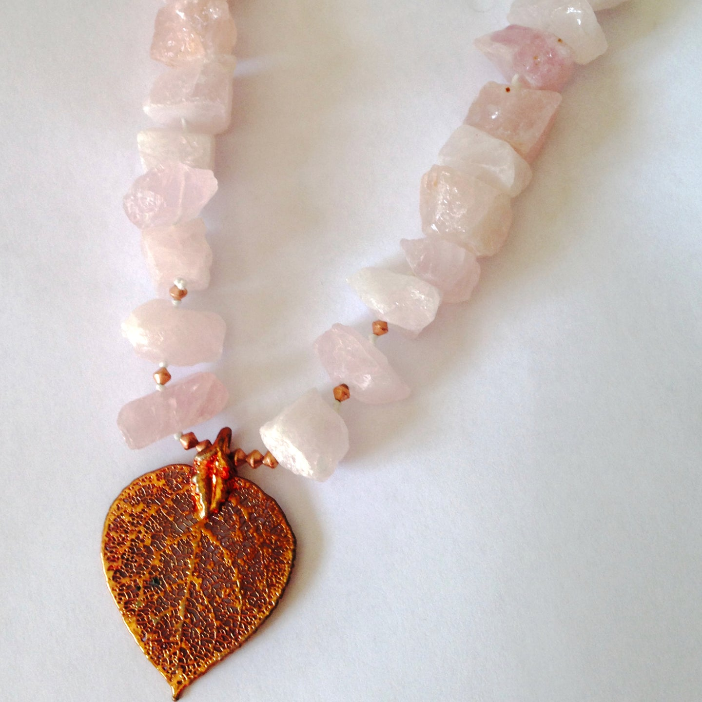 Natural aspen leaf necklace with rose quartz by Buckaroo Bling