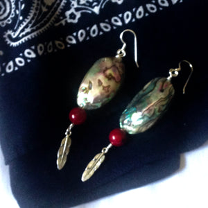 Baby abalone shell earrings by Buckaroo Bling