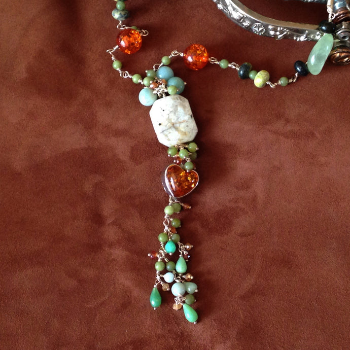 One of a kind gemstone tassel necklace by Buckaroo Bling