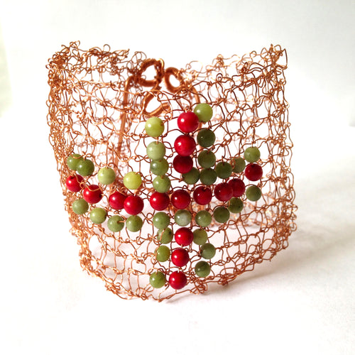 One-off knitted copper wire bracelet with gemstone cross by Buckaroo Bling