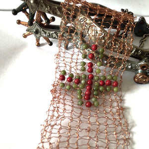 Knitted copper cuff bracelet by Buckaroo Bling